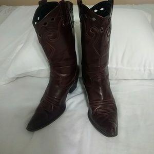 "Shoes - Deep Rich Brown Cowboy Boots Size 8, 2.25"" Heel"
